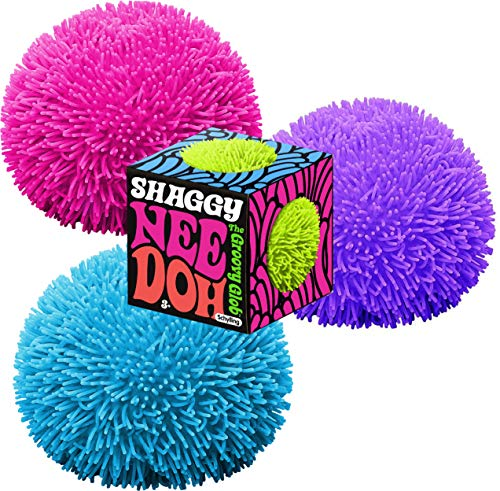 Nee-Doh Schylling Shaggy Groovy Glob! Squishy, Squeezy, Stretchy Stress Balls Neon Colors Gift Set Party Bundle - 3 Pack (Assorted Colors)