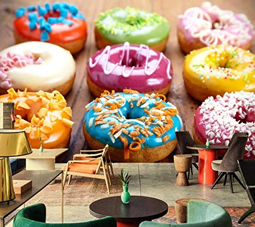 ZDBWJJ Muurafbeelding Bakken Donuts Food Behang Koffiestube Living Sofa TV Wand Slaapkamer Keuken 3d Behang 350 cm x 245 cm.