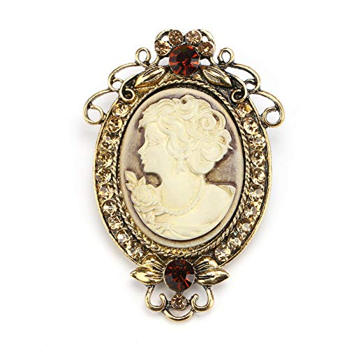 RelaxLife Brooches Vintage Cameo Elegant Brooch Pins Fashion Style Crystal Portrait Brooch For Women Antique Wedding Bridal Bouquet Jewelry