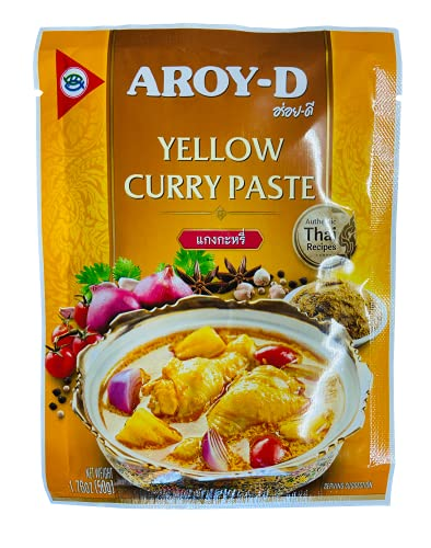 Aroy-D Pasta de Curry Amarillo 12x50g -1 Caja De 12 Unidades