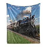 Ambesonne Steam Engine Soft Flannel Fleece Throw Blanket, Vintage Locomotive in Countryside Scenery Green Grass Puff Train Picture, Cozy Plush for Indoor and Outdoor Use, 50' x 60', Blue Green