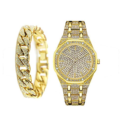 Conjunto Combinado de Pulsera Cubana con Reloj de Diamantes CZ Iced out para Hombre - Oro/Plata