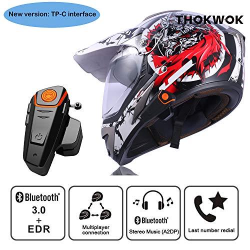 Thokwok - Intercom Moto BT-S2 auricolare Bluetooth per GPS moto, kit vivavoce per casco moto sci 1000 m interfono senza fili
