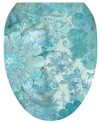 Toilet Tattoos, Toilet Seat Cover Decal, Blue Floral Haze, Size Elongated
