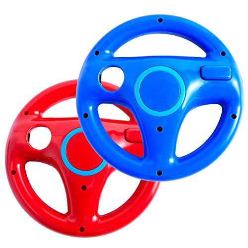 Volante de Wii para Wii Mario Kart Racing Wheel para Nintendo Wii U Remote Controller [paquete de 2] (rojo y azul)