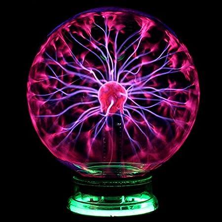 Desinger Nouveauté Verre Magique Plasma Électrique Statique Ball Light 4 5 6 Pouces Lumières de Table Sphère Veilleuse Enfants Cadeau Pour Magic Plasma Lightning Nuit Lampe (Taille : 6 Inch)
