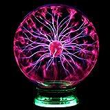 Desinger Nouveauté Verre Magique Plasma Électrique Statique Ball Light 4 5 6 Pouces Lumières de Table Sphère Veilleuse Enfants Cadeau Pour Magic Plasma Lightning Nuit Lampe (Taille : 5 Inch)