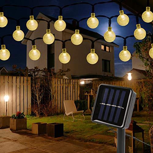 Mitening Solar Lichterkette Aussen, 12M 100 LED Lichterkette Außen Wasserdicht Kristall Kugel für Garten Bäume Schlafzimmer Kinderzimmer Hochzeiten Weihnachten Partys Warmweiß [Energieklasse A+++]