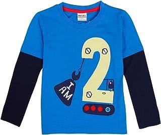 JUXINSU Cotton Baby Boys Long Sleeve T-Shirt Casual Crewneck Pullover Autumn Winter Boy Tshirt for 1-6 Years