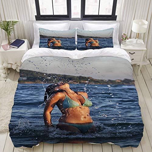 Bettbezug, Strand Sexy Bikini Schönheit im Meer Thema Bild Cool Elegante, dekorative 3-teilige Bettwäsche-Sets mit 1 Bettbezug und 2 Kissenbezügen für Jugendliche Erwachsene