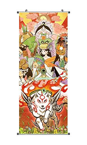 CoolChange Großes Okami Rollbild I Kakemono aus Stoff I 100x40cm I Motiv: Amaterasu