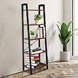Basic Houseware Standing Shelf Unit Wood Bookcase Storage Organizer 5 Tiers Bookshelf Rack for Living Room