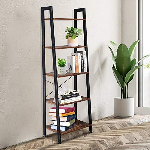 YISHEN Estantes de 5 niveles, estantes industriales de escalera, estantes de almacenamiento, estantería, marco de oficina para sala de estar, oficina, 55,9 x 38 x 157 cm