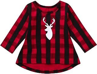 YanHoo Niño pequeño Niños Niños Bebé niña Plaid Navidad Ciervos Princesa Vestido Equipo de Ropa Vestido de Tela Escocesa de Navidad de Cuadros de Manga Larga para niños Ropa Linda