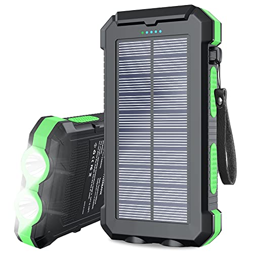 Solar Charger 30000mAh, Portable Solar Power Bank External USB Battery Pack with LED Flashlight, Waterproof Solar Phone Charger Built-in Type-C Input, Compatible with Cell Phones and Tablets (Green)