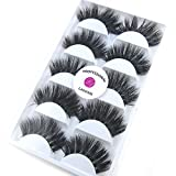 3D Real Mink False Eyelashes LASGOOS 100% Siberian Mink Fur Luxurious Soft Cross Thick Very Long Wedding Party 5 Pairs 20mm Fake Eye Lashes K02 (1 Pack-5 Pairs)