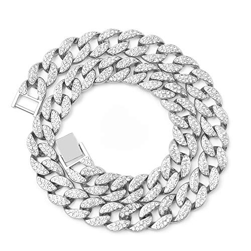 Cuban Link Necklace for Men - Hip Hop Necklace Stainless Steel Necklace Iced Out with Bling Rhinestones, Fashion Accessory for Hip Hop Lovers(Silver, 18).
