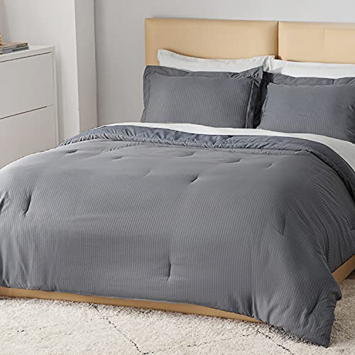 Bedsure Striped Comforter Set Twin Size Bed Grey -...