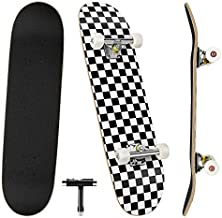 Skateboards, 31'' x 8'' Complete Standard Skateboards for Beginners with 7 Layers Canadian Maple, Double Kick Concave Skateboards for Kids Youth Teens Man and Women
