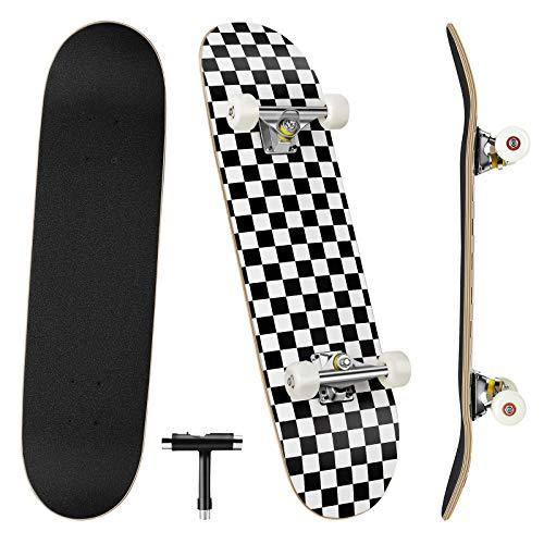 Benewell Skateboard Komplett Board Funboard 79x20cm mit 7-lagigem Ahornholz, für Kinder, Jugendliche und Erwachsene (A Schwarz-Weiß-Raster)