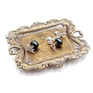 Funly mee Small Antique Trinket Dish Vintage Gold Jewelry Tray , Ring Holder