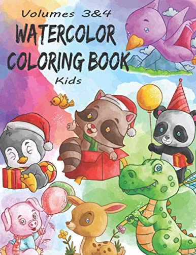 Watercolor Coloring Book Kids: (Volumes 3&4) 13 ADORABLE TOP-NOTCH Illustrations + 13 Inspiring REFERENCE Pages. Baby Dinosaur, Baby Penguin, Baby ... (Watercolor Coloring Books for Kids)