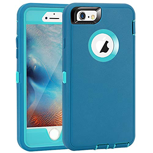Maxcury Case for iPhone 6 Plus, 5.5 Inch, Heavy Duty Shockproof Full Body Protection with Built-in Screen Protector for iPhone 6s Plus (Teal/Lt Blue)