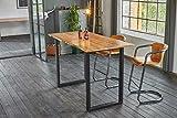 KAWOLA Bartisch mit Baumkante Akazie massiv Fuß schwarz 120x85x113cm (L/B/H)