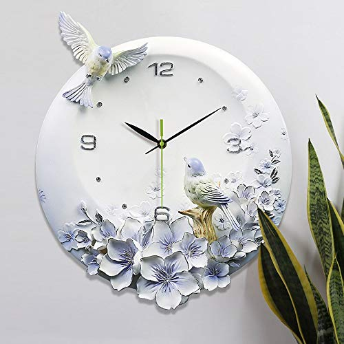 LG Snow Lila Blumen Handbemalte 3D Relief Vogel Mute Wanduhr Kreative Modern European Resin Luxury Home-Dekorationen 42 * 39cm