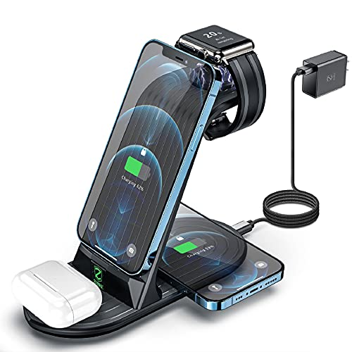 Cargador Inalámbrico, ZHIKE 4 en 1 Base de Carga inalambrica 10w Carga Rápida con Adaptador QC3.0 Compatible con Smartphone, Apple Watch, iPhone Airpods