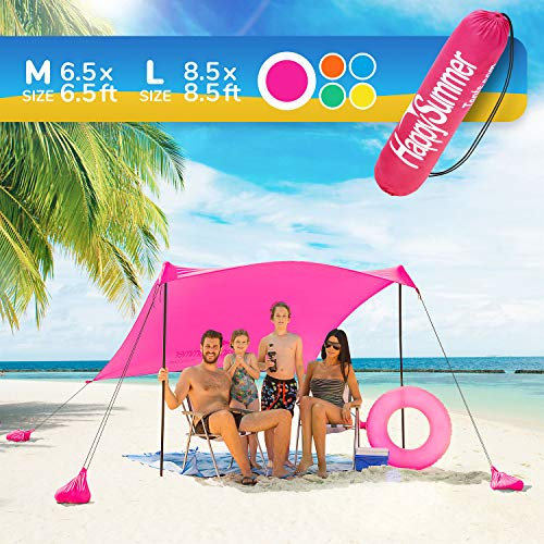 HappySummer Sunshade Beach Tent – Sun Shelter Pop-Up – Family Size, Portable, UPF50+ UV Protection Lycra Canopy with...