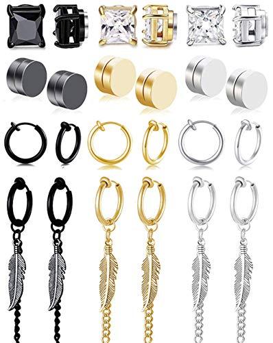 Jewdreamer 12 Pairs Stainless Steel Mens Womens Magnetic CZ Earrings Clip On Non-Pierced Earrings Studs Feather Dangle Hoop Earring Set