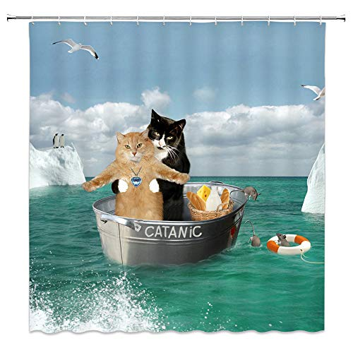 AMNYSF Funny Cats Decor Shower Curtain Pet Kitten Couple Cosplay in Ocean Fabric Bathroom Curtains,70x70 Inch Polyester With Hooks