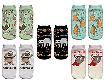 Benefeet Sox Funny Crazy Sloth Ankle Socks for Women Girls Fun Cute Silly 3D Print Pattern Chracter Novelty Low Cut Liner Socks Gift 5 Pairs,Sloth