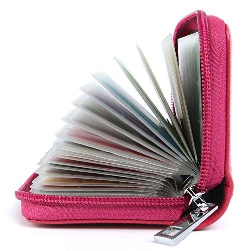 Porta Carte di Credito Pelle per Donna Uomo (Rosa rossa)