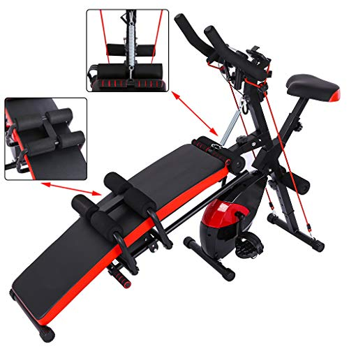 【US Stock】Adjustable Weight Bench Cycling Bike 2-in-1 Fitness Machine, Utility Barbell Lifting Press Exercise Dumbbell Bench, Home G-ym Strength Training Sit Up Abs Benchs (59X15X49Inch)