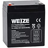 Weize 12V 5AH SLA ub1250 Rechargeable Battery Replaces 12 Volt 4AH 4.5AH 5AH for Alarm System, Home Security,Electric Scooter/Bicycle