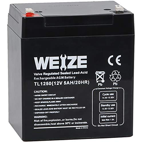 Weize 12V 5AH SLA Rechargeable Battery Replaces 12 Volt 4AH 4.5AH 5AH pc1250 ub1250 ca1240 bp5-12 es4-12 np4-12 ub1245 gp1245 ps-1250 ps1250 for Alarm System, Home Security,Electric Scooter/Bicycle