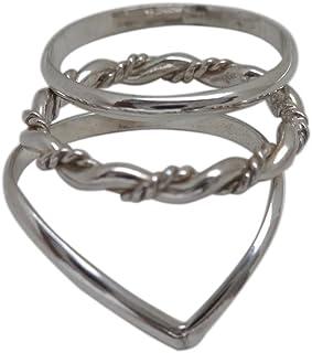 California Toe Rings Women's Sterling Silver Chevron Trio Stacked Toe Rings