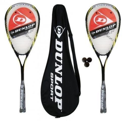 Dunlop Biotec X-Lite Squashschläger x 2 + Schlägerhülle (2) + 3 Squash-Bälle (Verschiedene Optionen) (Biotec Max)