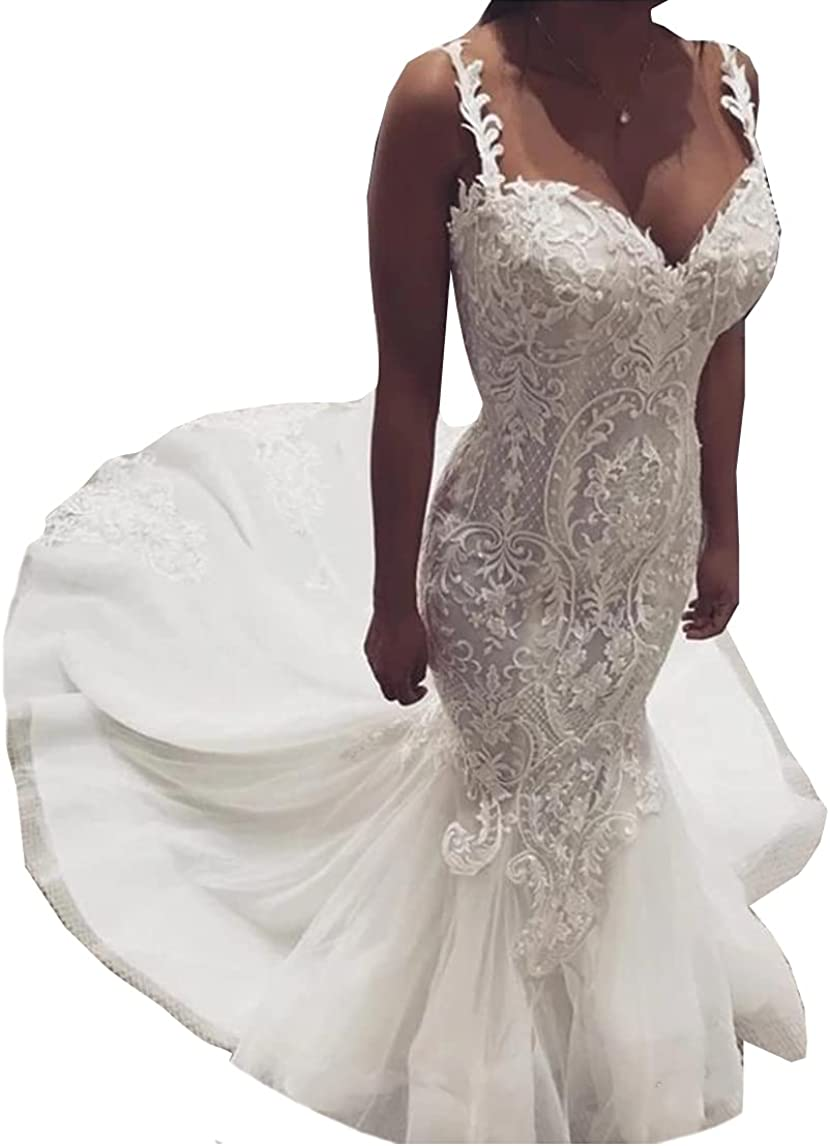 Women's Spaghetti Strap Bridal Ball Gowns with Long Train Lace Mermaid Wedding Dresses for Bride Plus Size