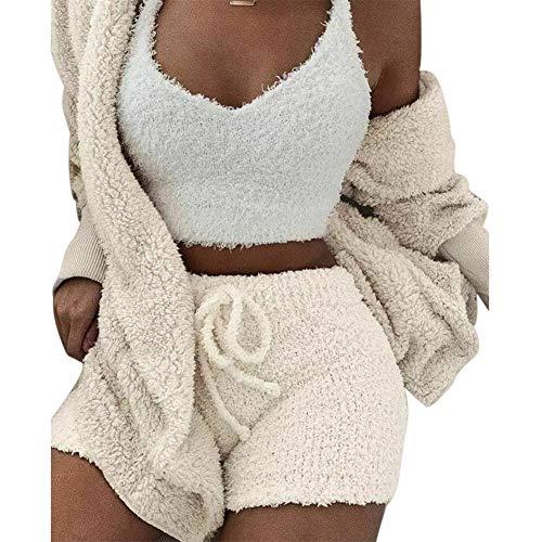 Fluffy Hooded Lange Mouwen Jas Open Front Teddy Shorts Vest Set voor Vrouwen Winter 2XL Kleur: wit