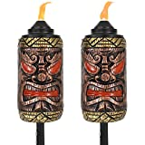 1 set of 2 torches: Outside torches have a 4-inch diameter x 66 inches tall (when assembled with all 4 pole sections); Fuel canister holds 18 ounces of fuel; Weighs 2.7 pounds per torch; Tiki face vessel is 10 inches tall; When assembled with 3 pole ...