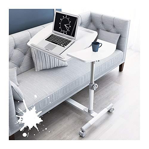 Beistelltisch mit Rollen Sofatisch Laptoptisch Rollen, Laptoptisch Computertisch Sofa Bett Ständer Schreibtisch Pflegetisch Einstellbar, for Büro Schlafzimmer (Color : White)