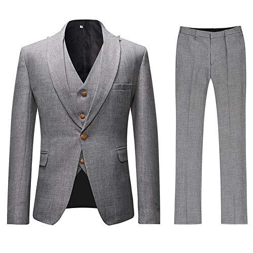 Mens 3 Piece Linen Suit Set Blazer Jacket Tux Vest Suit Pants (Gray, M)