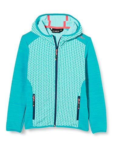 CMP Mädchen Stretch Fleece Jacket with Hood Jacke, Jade-Ceramic-Blue, 140
