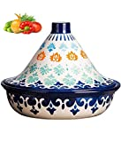 PLYY Moroccan Cooking Tagine Pot with Lid - Tajine Ceramic Casserole Steamer Braiser Pan Healthy - for Cooking And Stew Casserole Slow Cooker - for Most Open Flame Cookware (Color : Deep sea blue)