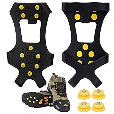 SYOURSELF Ice Cleats Snow Grips Overshoes Boots, Anti-Slip Silicone Portable Walk Traction Cleats Stainless Steel Spikes for Walking, Jogging, Hiking, Climbing, Fishing, Running, Men, Dog, Kids (M)