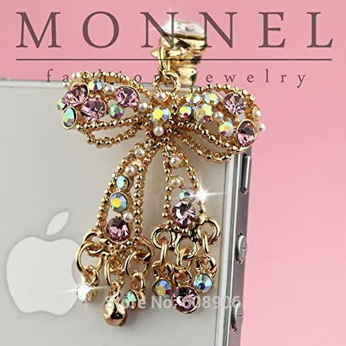 NEW before selling ☆ IP682-B Adorable Crystal Bow Cell Phone Charm Plug Dust for Anti New life