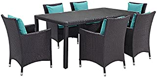 Modway Convene Wicker Rattan 7-Piece Outdoor Patio Dining Set in Espresso Turquoise
